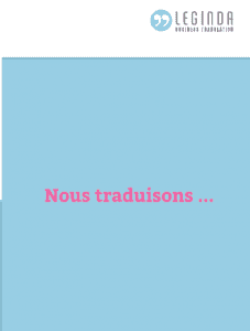 Leginda Broschüre FR